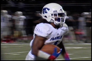 Franklin's Joey Banks scores on an 8 yard run in the 4th quarter to cap a 28-7 victory over Cosumnes Oaks.