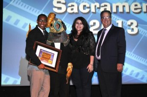 """Film """"Tailypo"""" writer Dwight Taylor, his director, and Access Sacramento Executive Director on stage at A Place Called Sacramento after """"Tailypo"""" wins honors as the Producer's Favorite."""