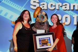 """The Film """"Resolution"""" won honors as the Audience Favorite with Director Diana Erwin and write/Star Jessica Benza on stage to recieve the award."""