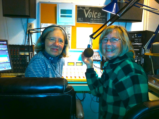 "Access Sacramento Radio Producers Charlene Jones (left) and JoAnn Fuller broadcast a weekly progressive public affairs talk show on ""The Voice."""