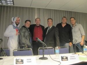 Comic Con panel (from left) Matthew Donaldson, Ryan Todd, Brian Jaggar, Gary Martin, Doug Stanley and Michael Rosenbaum.