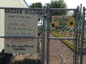 This is the entrance to a garden produced by elementary school students in their schools' garden club.