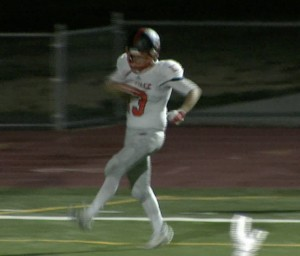 Roseville's Dominick Rucker celebrates a 22-yard TD pass reception in the winning final score.