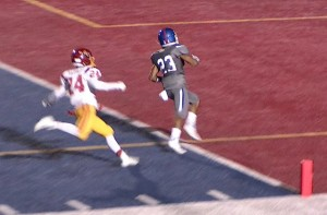 Folsom's #23 Brandon Rupchock scores as the receiver in a double-reverse halfback pass vs. Jesuit.