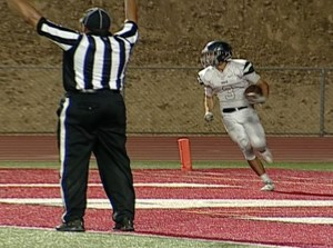 Vista del Lago receiver Brenden Halls takes a 43-yard TD catch from Brent Schaeffer