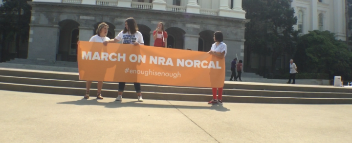 People gather at the capitol to March on the NRA